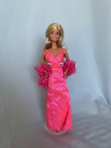 1976 SuperStar Barbie #9720 In Hot Pink Dress, Shoes, Boa & Jewelry By Mattel