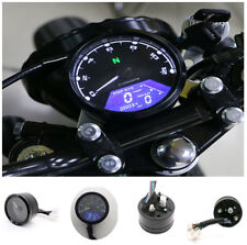 New Motorcycle Chopper Cafe Racer LCD Signal Speedometer Tachometer Gauge Alarm