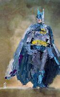 "ORIGINAL Abstract Blue Suit Batman Superhero Comic Pop Art Painting 11x17"""