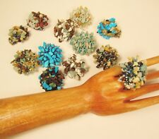 12 PCS WHOLESALE LOT Turquoise Blue Stone Chip Beaded Elastic Stretch Rings