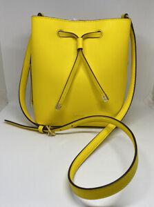 *NWT* Lauren Ralph Lauren Yellow Leather Drawstring Bucket Bag $158