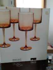NEW Vintage Studio Nova~ Red Wine ~Set of 4 ~Columbus Circle Pink ~ Wine Glasses