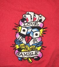 Ed Hardy Christian Audigier~Love Is A Gamble~Small Red Embroidered Tee