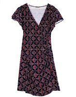 JACQUI E Women's Size Medium Black Red Faux Wrap Knee Length Business Dress