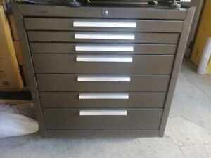 "Kennedy 27"" 7-Drawer Roller Cabinet w/ Ball Bearing Slides - Brown"