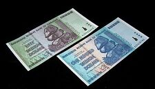 2 Zimbabwe banknotes-1 x 50&100 Trillion Dollars-Paper money currency