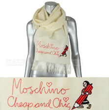 MOSCHINO CHEAP AND CHIC WOOL SCARF SIGNATURE OLIVE OYL LONG WHITE
