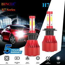 2x H7 2400W 336000LM 4-Sided CREE LED Headlight High Low Beam Bulbs 6000K Fog US