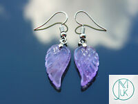 Amethyst Angel Wing Gemstone Earrings Natural Quartz Chakra Healing Stone Reiki