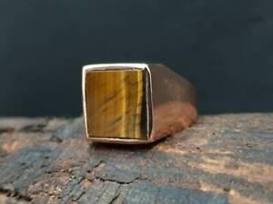 925 Sterling Silver Overlay Tiger Eye Gemstone Big Huge Boys Mens Ring