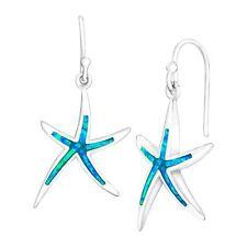 Earrings in Sterling Silver Created Blue Opal Starfish Drop