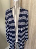 Love Ellie Women Blue / White Striped Open Cardigan Sweater Size L - EUC