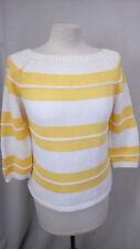 Pull d'été jaune blanc marque 1 2 3 taille 34/36 en très bon état.