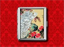 JAPANESE WHITE PEACOCK BIRD WOODBLOCK METAL WALLET CARD CIGARETTE ID IPOD CASE