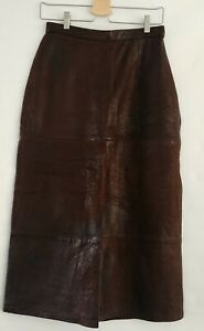 Vtg Banana Republic Genuine Leather Skirt 10 Long Straight Midi Brown Steampunk