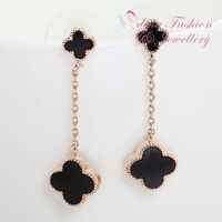 18K Rose Gold Plated Simulated Agate Stylish Black 4 Leaf Clover Drop Earrings