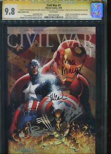 Civil War #1 Aspen Variant CGC Graded 9.8 SS Stan Lee+5 Aspen Variant Cover