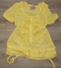 JUICY COUTURE designer YELLOW smock TOP 12 fine cotton POLKA-DOT ruffle tie xcon