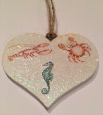 Nautical Seaside Seahorse Crab Lobster Hanging Decorations Real Wood Heart Decal