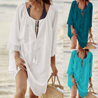 Damen Beach Bikini Cover Up Badebekleidung Sommer Boho Beach Minikleid Badeanzug