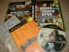 Grand Theft Auto San Andreas XBox video game 100% COMPLETE +MAP green/black box