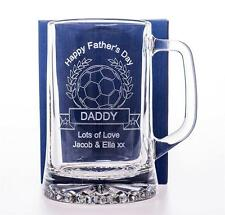 Engraved FATHERS DAY FOOTBALL Pint Glass TANKARD Gift For Dad/Daddy/Grandad