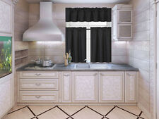 NEW KITCHEN COLLECTION SET WINDOW DRESSING CURTAIN SOLID BLACKOUT 3PC STYLE K3