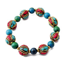 """Turquoise Coral Brass 7"""" Stretchable Bracelet Tibetan Nepalese Handmade BR871"""
