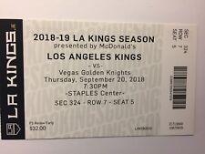 LOS ANGELES KINGS VS VEGAS GOLDEN KNIGHTS SEPTEMBER 20, 2018 TICKET STUB