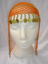 Ladies Egyptian Cleopatra Queen Of The Nile Orange Headpiece Fancy Dress Wig