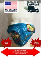 WONDER WOMAN Adult Child Kids Cotton Face Mask Covering Pocket & Nose Wire