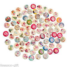 100PCs Mixed Christmas Pattern Wooden Buttons Fit Sewing DIY Ornaments 18mm