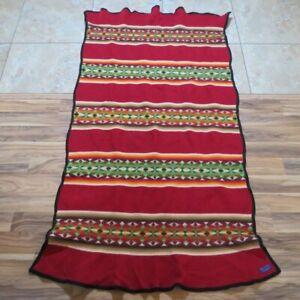 Beaver State Pendleton Wool Blanket Geometric Stripes Maroon Green 75x50