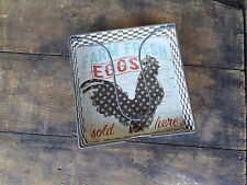 Vintage Inspired Galvanized Metal CHICKEN EGGS NAPKIN HOLDER Farmhouse Decor NEW