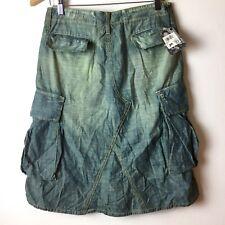 Chip & Pepper Distressed Bleached Denim A-Line Cargo Skirt XS Size 24 Lagenlook