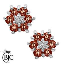 Runde Ohrschmuck mit Diamant echten Edelsteinen Granate