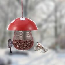 Outdoor Bird Feeder Mushroom-Shaped Top Graded Parrot Feeding Iron Container New