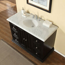 48-inch Bathroom Single Sink Vanity Carrara White Marble Stone Top Cabinet 0282W
