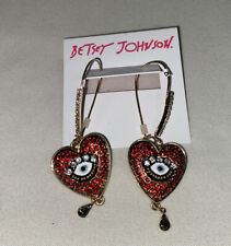 Betsey Johnson Gold-tone Crystal Evil Eye Red Heart Drop Earrings