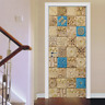 3D Arabian Style Tiles Door Mural Sticker Self Adhesive Peel and Stick Wallpaper