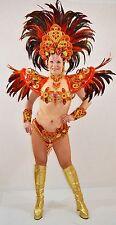 BRAZILIAN RED/ORANGE#1 SHOW GIRL  carnival SAMBA  COSTUME bikini/CUSTOM MADE