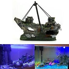 Aquarium Decoration Pirate Wreck Sunk Ship Boat For Fish Tank Resin Ornament New