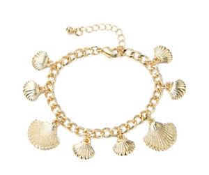 Ladies Accessory Fashion Bracelet Shell Pendant Gold Festival Strand New