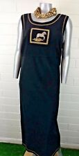 Plus Woman TEDDI MAXI DRESS Size 2X Faux Suede BLACK SAFARI PRINT Sleeveless(sg)