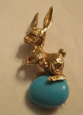 """Vintage 14K Gold Easter Bunny Brooch  with Turquoise Egg 1.50"""" by 1/2"""""""