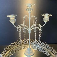 """Candelabra Shabby Chic Candle Holder Metal 17 1/4"""" Lucite Prisms Victorian #A5"""