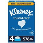 Kleenex Facial Tissue, 2-Ply, 144 Sheets/Pack, Pack of 4, Total 576 sheets