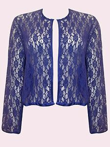 NEW Eaonplus BLUE Open Front Floral Lace Long sleeve Bolero Sizes UK 18 to 32