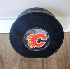 "CALGARY FLAMES -  NHL HUGE  7"" Inch Coin Hockey Puck Bank"