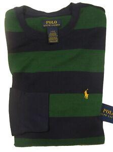 Polo Ralph Lauren Men's Green/Navy Waffle Knit Thermal Crew-Neck T-Shirt